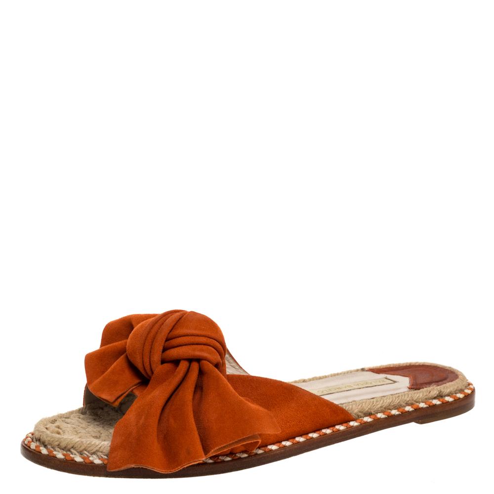 Paloma Barceló Orange Suede Leather Geranio Knotted Flat Slides Size 38