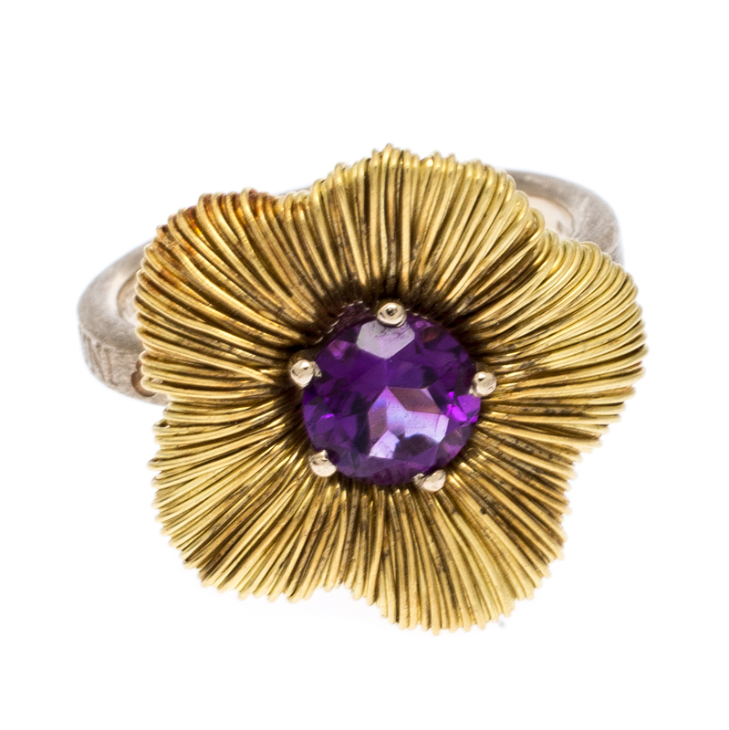 Купить со скидкой Pasquale Bruni Penelope Amethyst 18K Yellow Gold Flower Ring Size 53