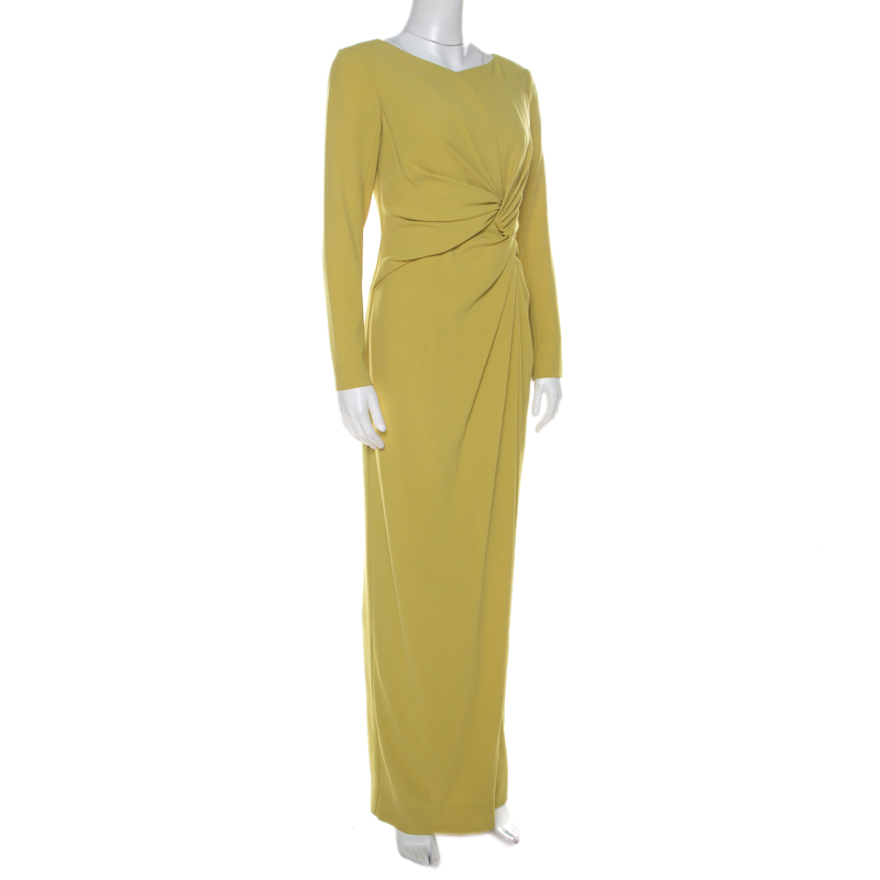Paule Ka Lime Green Crepe Waist Knot Detail Evening Gown