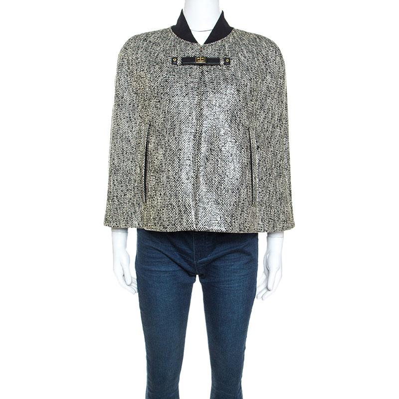 Paul ka Monochrome Tweed Glossy Finish Cape M