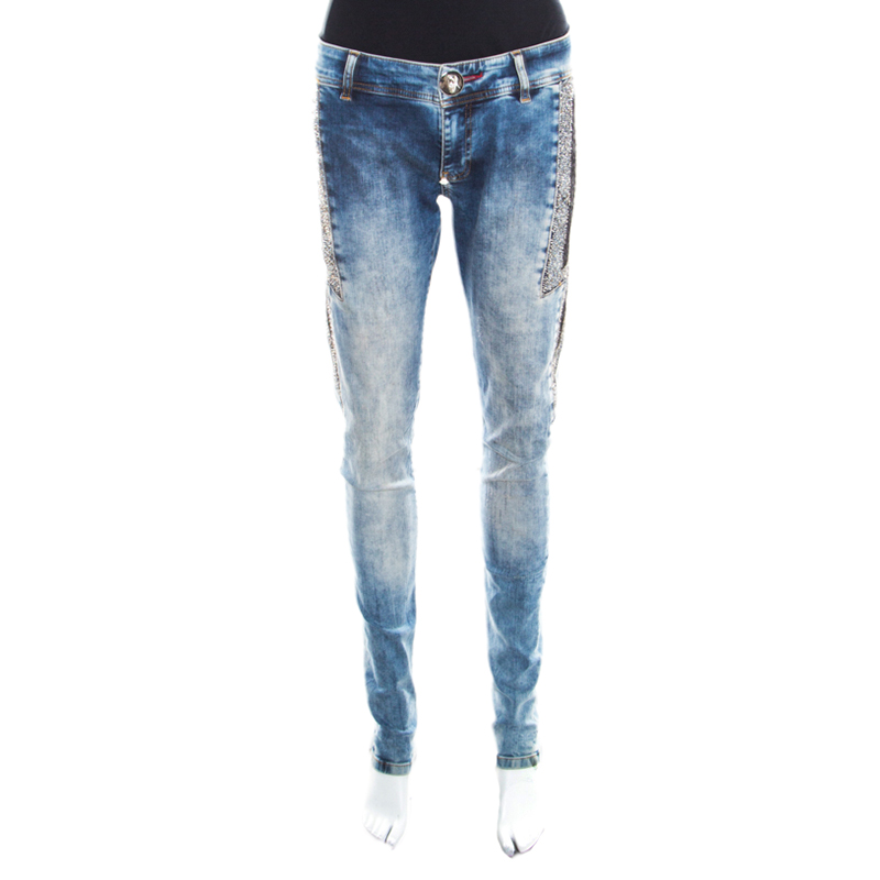 1d93999a62 Philipp Plein Indigo Crystal and Lace Detail Distressed Strawberry  Cheesecake Slim Fit Jeans M