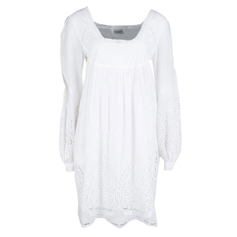 Купить со скидкой Philosophy di Alberta Ferretti White Eyelet Embroidered Cotton Long Sleeve Dress M