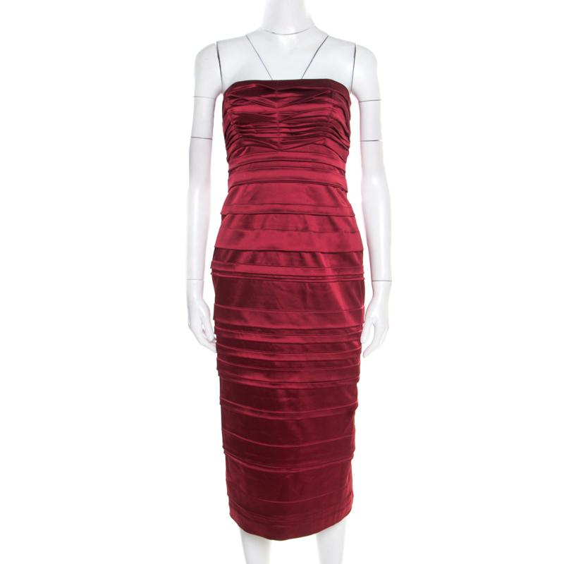 Philosophy di Alberta Ferretti Red Satin Pleated Strapless Dress M