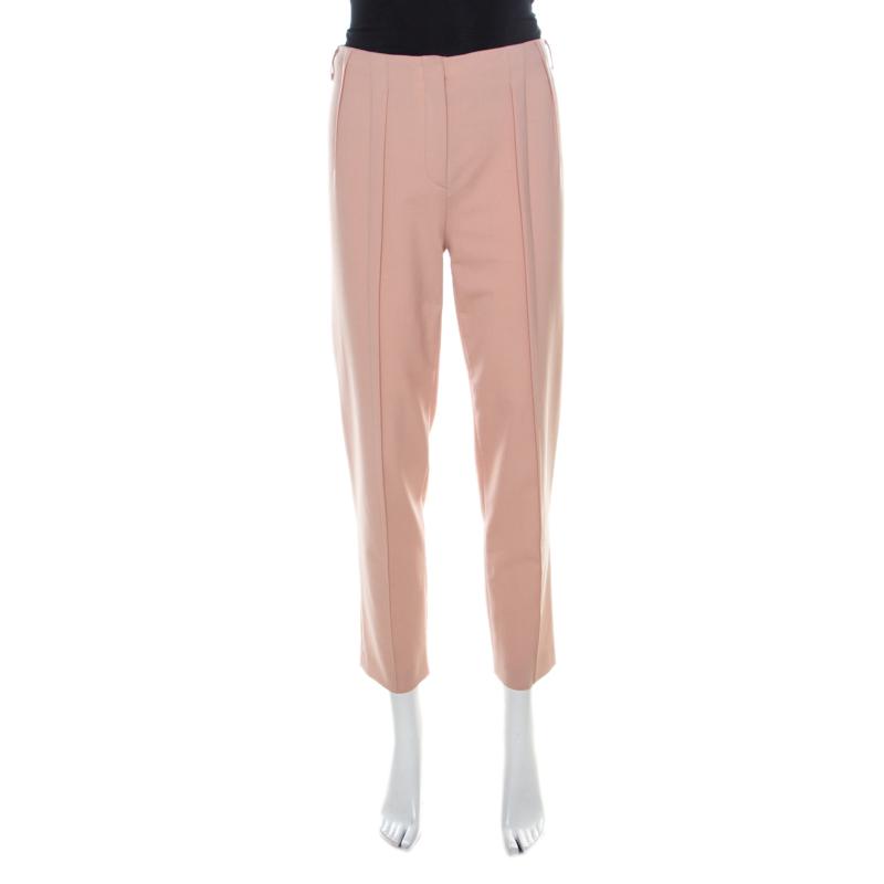 Philosophy di Alberta Ferretti Blush Pink Crepe Pleat Detail Straight Fit Trousers S