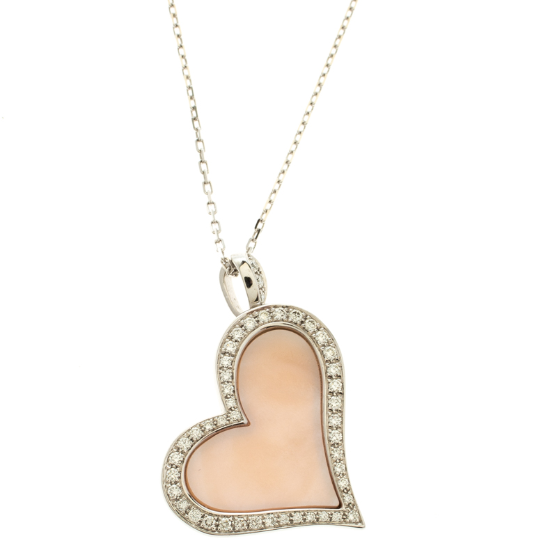 Piaget Asymmetrical Heart Diamond & Pink Mother of Pearl 18k White Gold Pendant