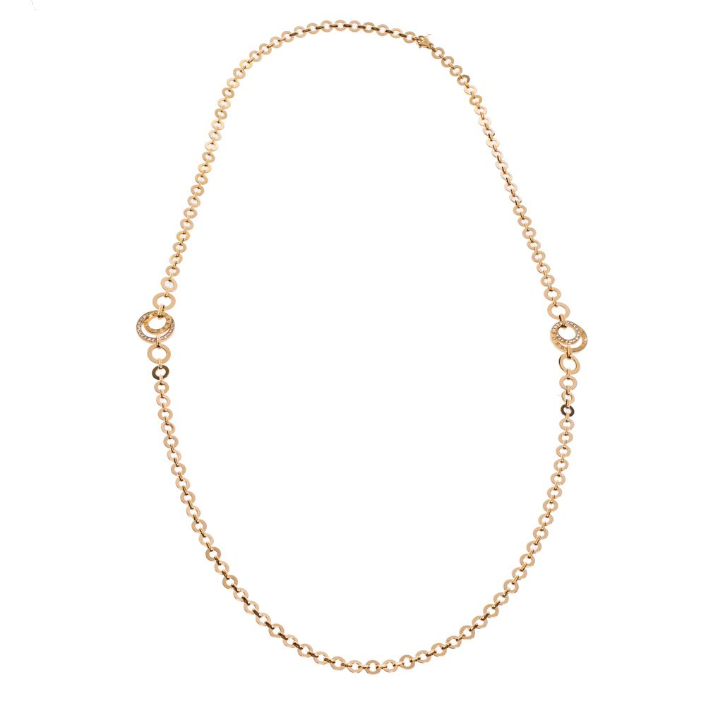 Piaget Possession Diamond 18K Rose Gold Hoop Link Sautoir Necklace