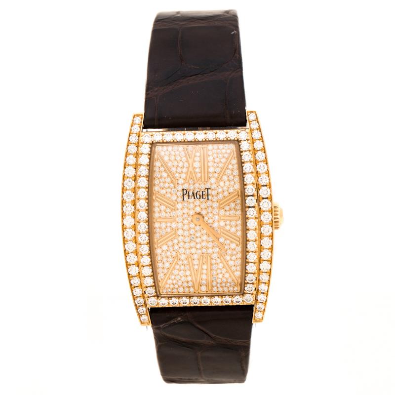Piaget 18K Rose Gold Diamonds Limelight Tonneau G0A39192 Women's Wristwatch 27 mm