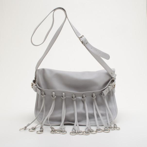 836c6ccc2b Buy Pierre Balmain Silver Original Fringed Leather Bag 34023 at best ...