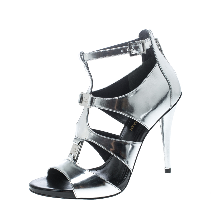 f2c7ce47ee565 Pierre Balmain Metallic Silver Leather Cage Strappy Sandals Size 37