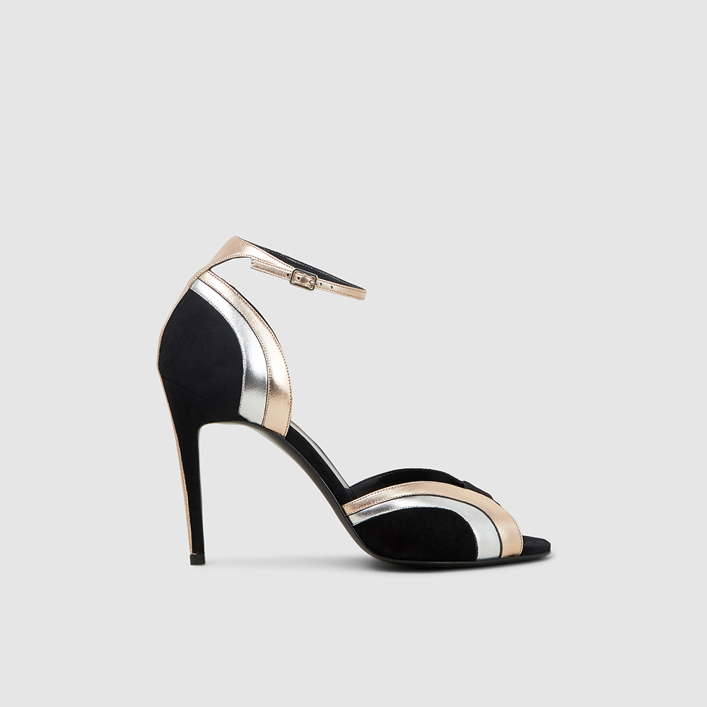 Pierre Hardy Black Rainbow Metallic Suede Sandals FR 37