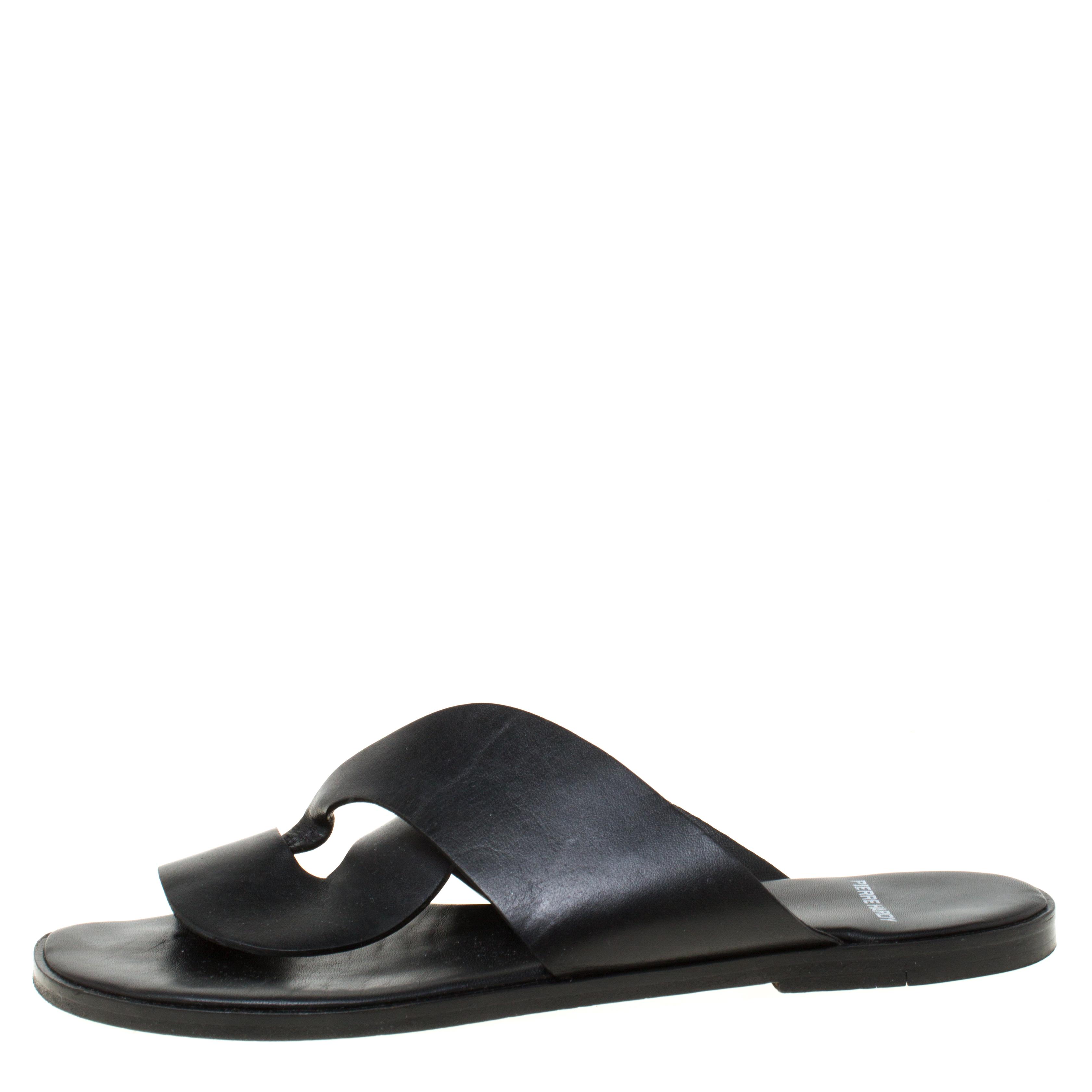 Pierre Hardy Noir Torsadé En Cuir Slide Sandals Taille 38