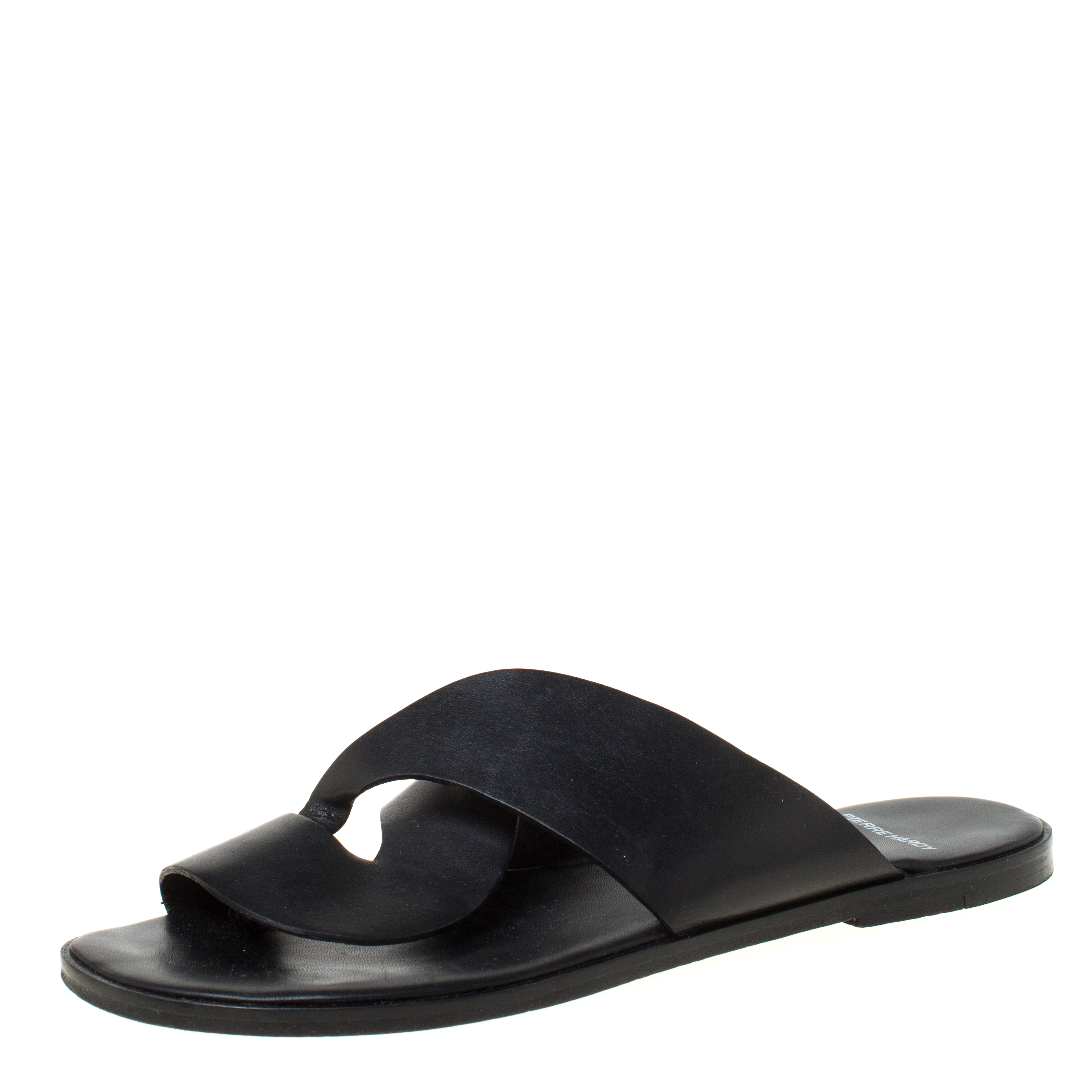 Pierre Hardy Black Twisted Leather Slide Sandals Size 38