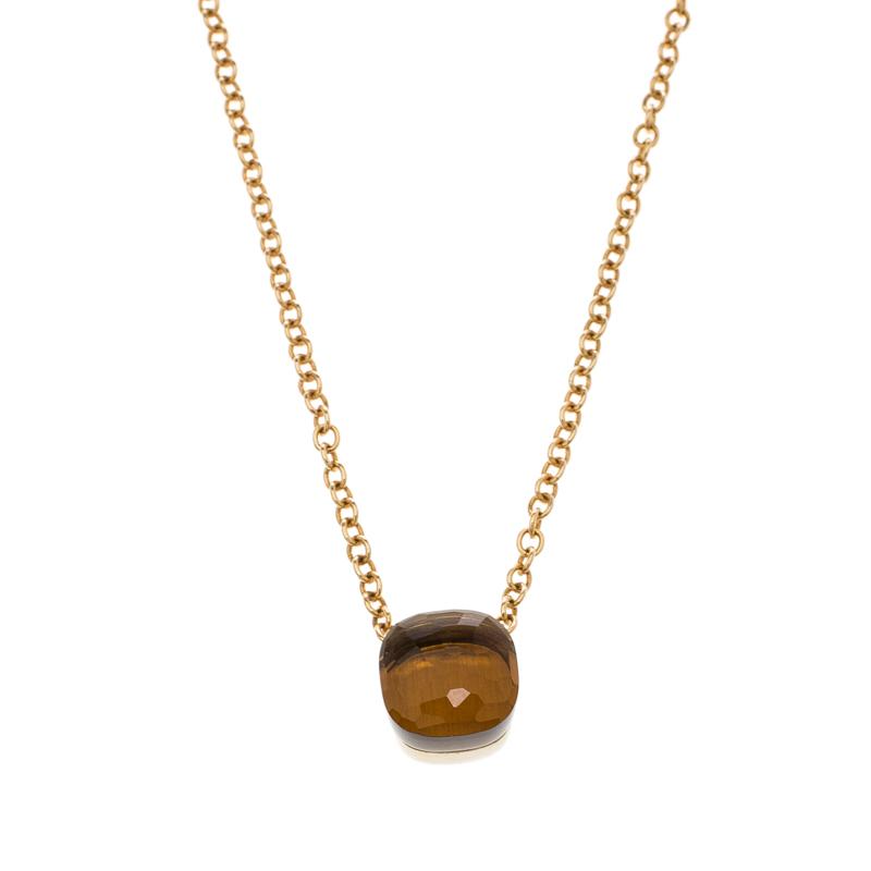 Pomellato Nudo Citrine Quartz 18k Rose Gold Pendant Chain Necklace