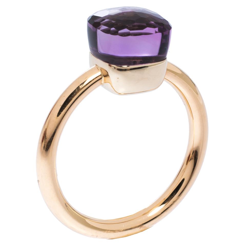 Pomellato Nudo Amethyst 18K Rose Gold Ring Size 54
