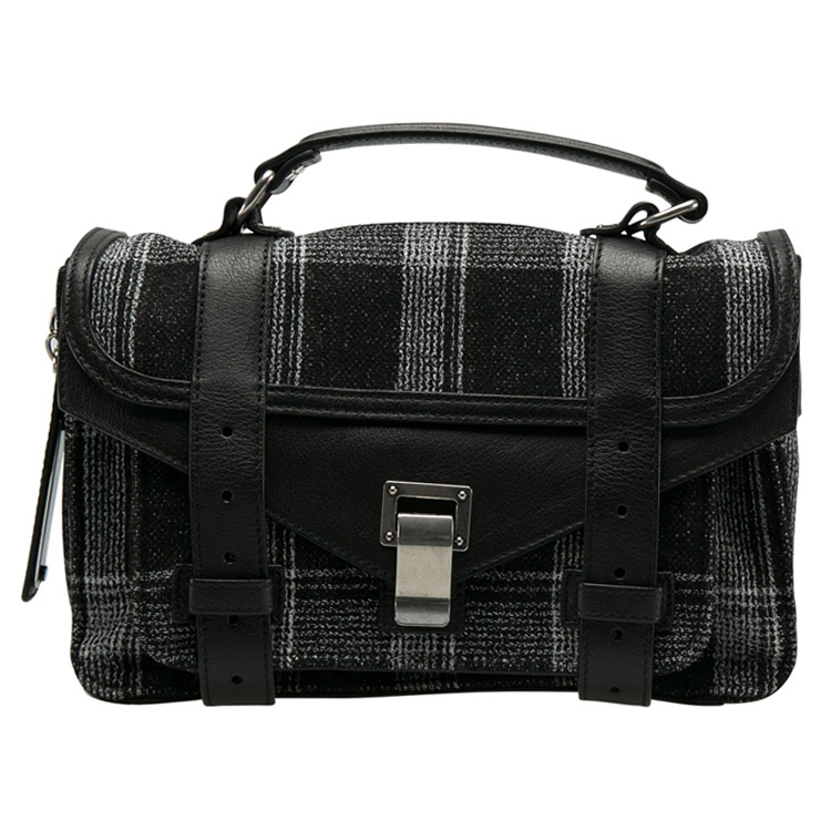 Proenza Schouler Black/White Monochrome Plaid and Leather Tiny PS1 Crossbody Bag