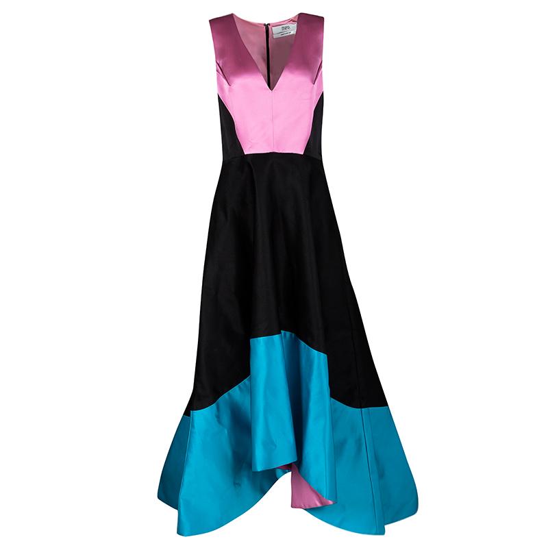Prabal Gurung Colorblock Doubleface Satin High Low Sleeveless V-Neck Gown L