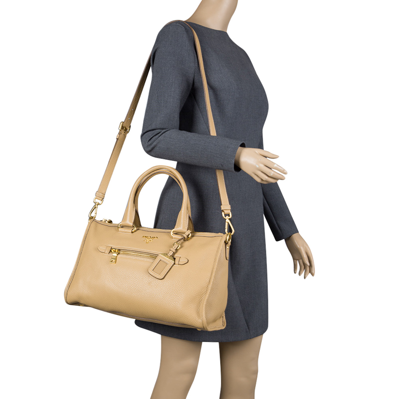 5bfeb917503a ... Prada Light Brown Vitello Daino Leather Bauletto Bag. nextprev. prevnext