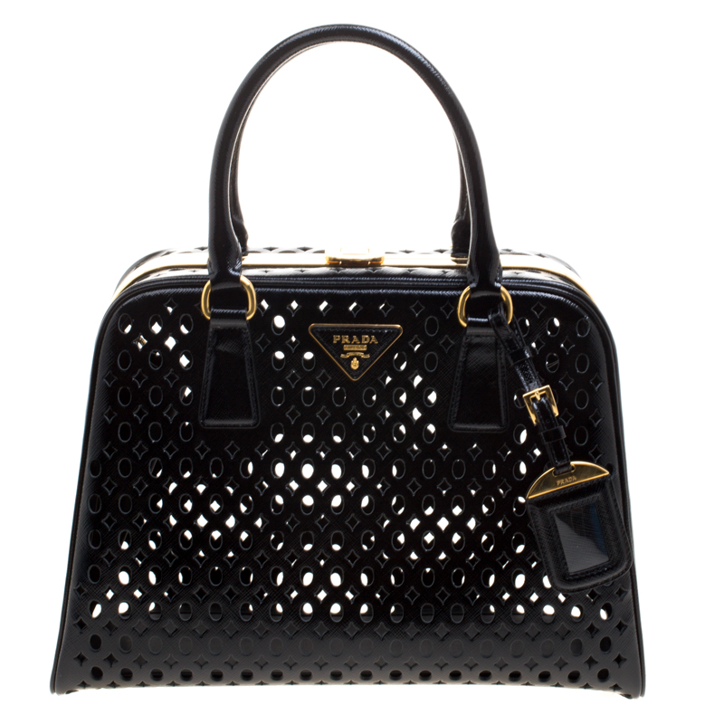 e2f866a56402 ... Prada Black Perforated Saffiano Patent Leather Pyramid Double Handle Bag.  nextprev. prevnext