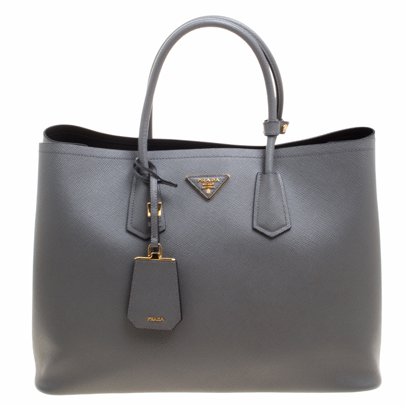 eeb4f4f1266af9 ... Prada Grey Saffiano Cuir Leather Double Handle Tote. nextprev. prevnext