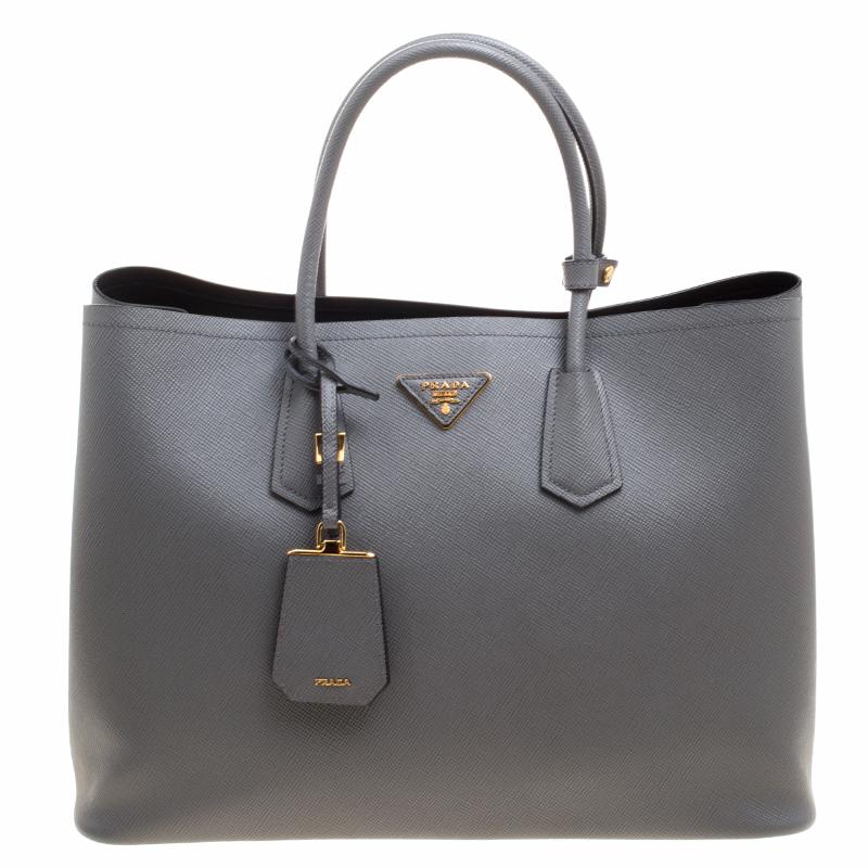 99cae2b28fa087 ... australia prada grey saffiano cuir leather double handle tote. nextprev.  prevnext 43c55 93b58
