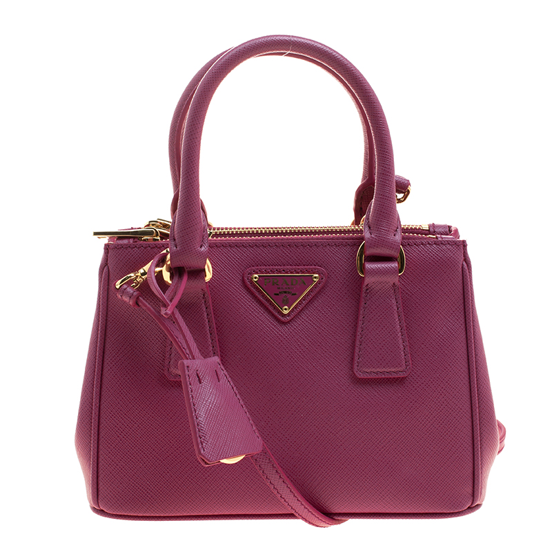 90139a187ef9 ... Prada Fuchsia Saffiano Lux Leather Mini Double Zip Shoulder Bag.  nextprev. prevnext