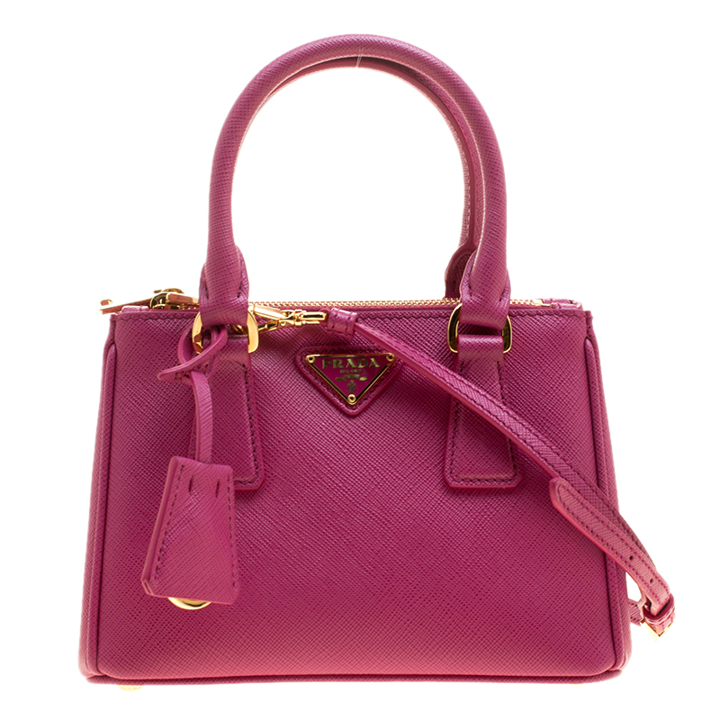 680171eb5fdf Buy Prada Fuchsia Saffiano Lux Leather Mini Double Zip Shoulder Bag ...