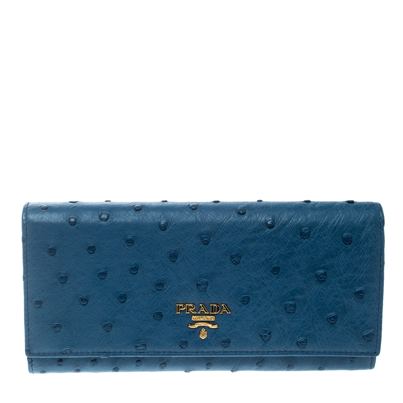 8cda5630effe ... Prada Blue Ostrich Leather Continental Wallet. nextprev. prevnext