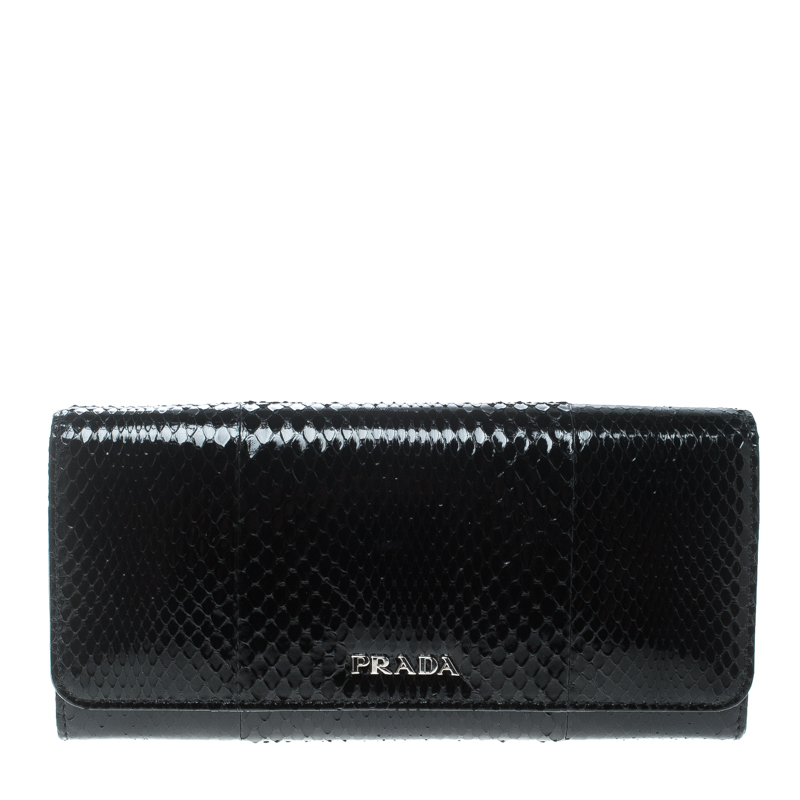 69cb5b313c56 Buy Prada Black Snakeskin Continental Wallet 159261 at best price | TLC