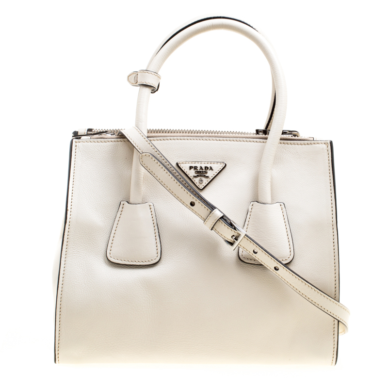 fe530aaa26d1 Buy Prada Off White Leather Double Zip Tote 161373 at best price | TLC