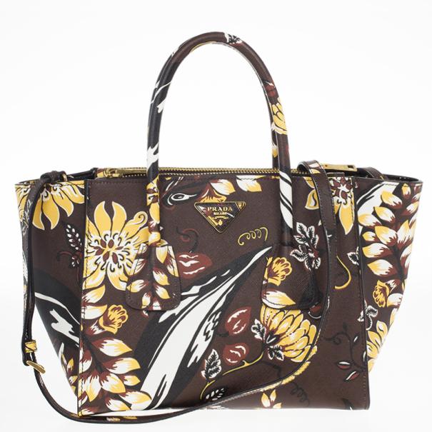 2a7236f7c39d97 Buy Prada Floral Saffiano Twin Pocket Tote Bag 17374 at best price | TLC