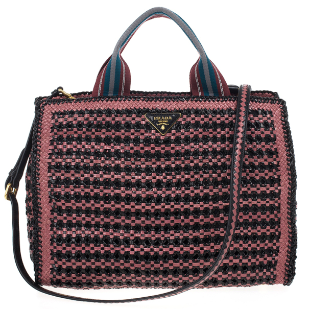 aca5370195 ... Prada Black Mauve Woven Leather  Madras  Tote. nextprev. prevnext