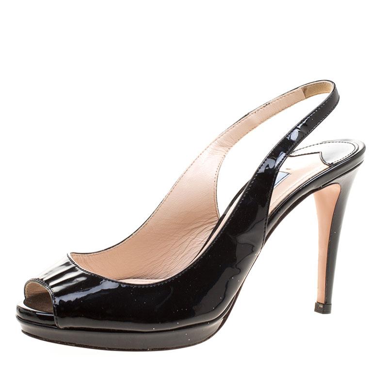 Toe Buy Patent Platform Prada Leather Black Slingback Sandals Peep rXwxBXq