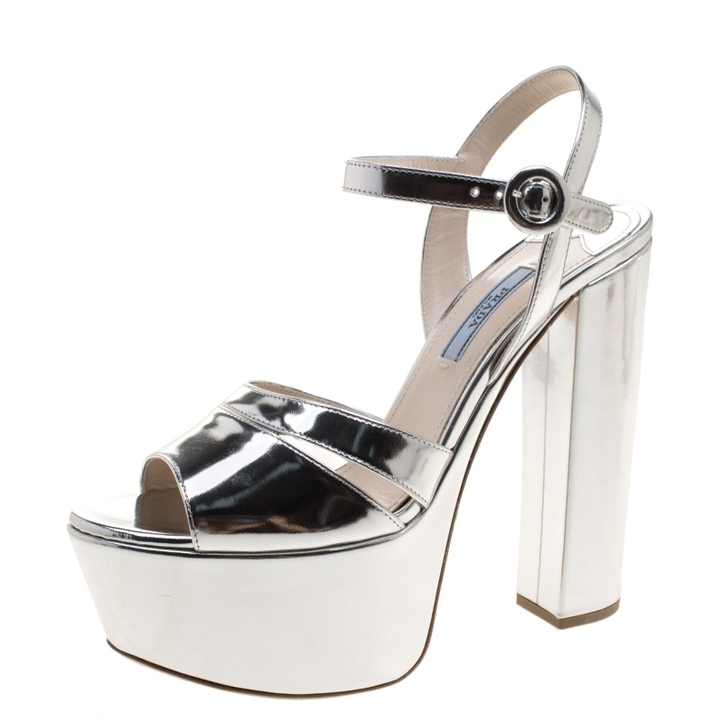 12d1f512ce1 Buy Prada Metallic Silver Leather Ankle Strap Block Heel Platform ...