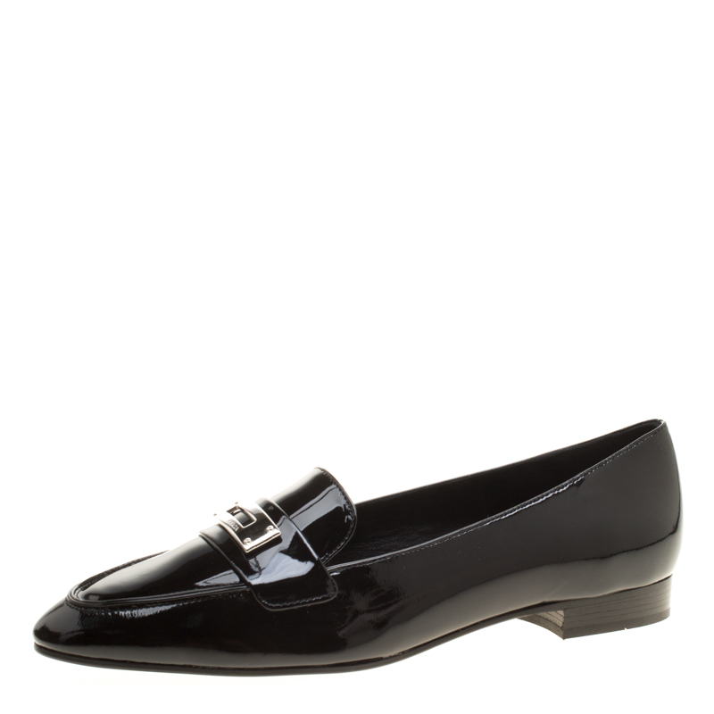 2e01a591acc Buy Prada Black Patent Leather Loafers Size 40 143424 at best price ...