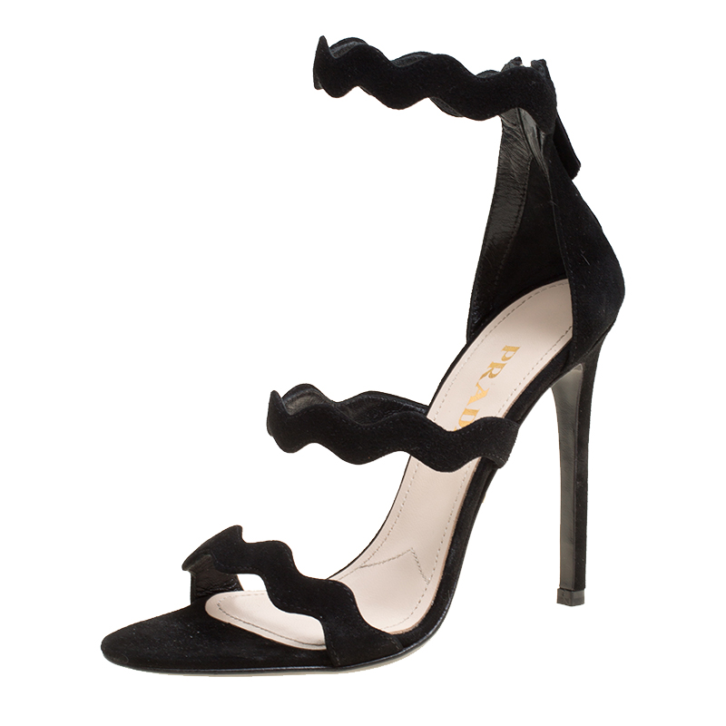 c621c67d92a ... Prada Black Suede Scalloped Open Toe Sandals Size 36. nextprev. prevnext