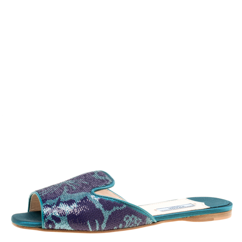 Prada Blue/Green Floral Sequins Embellished Flat Slides Size 38
