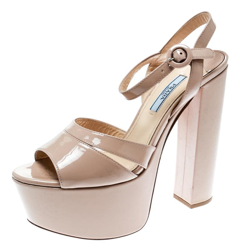 684295f813 ... Prada Beige Patent Leather Ankle Strap Block Heel Platform Sandals Size  37. nextprev. prevnext