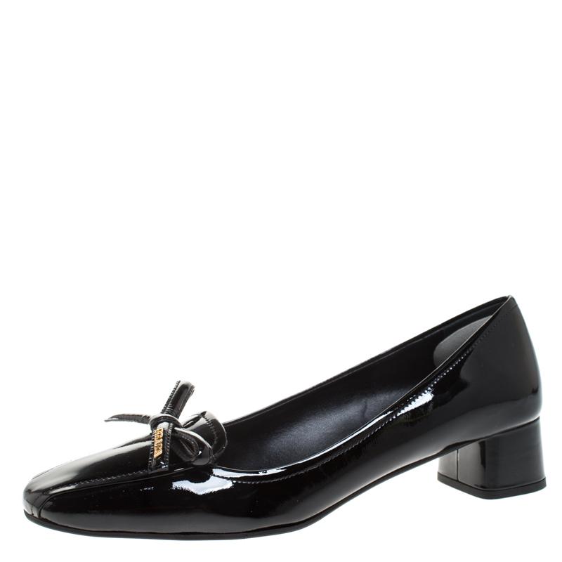 Black Patent Leather Bow Ballet Pumps