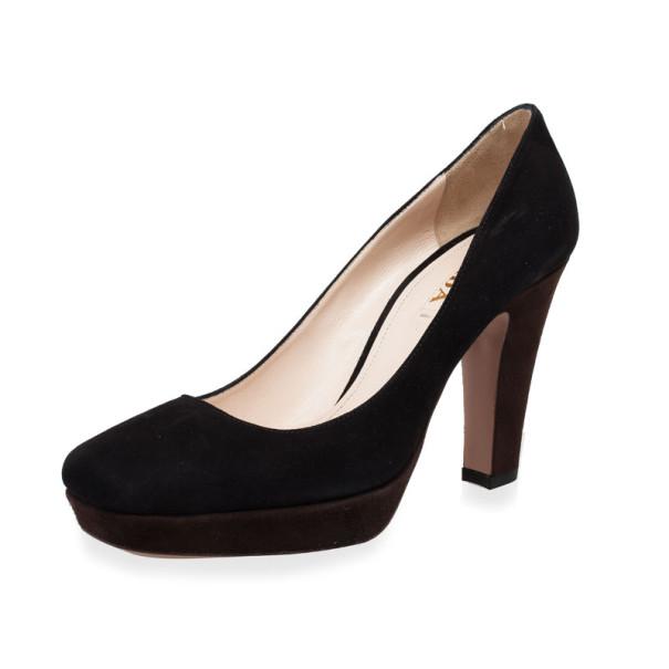 Prada Black Suede Square Toe Pumps Size 39
