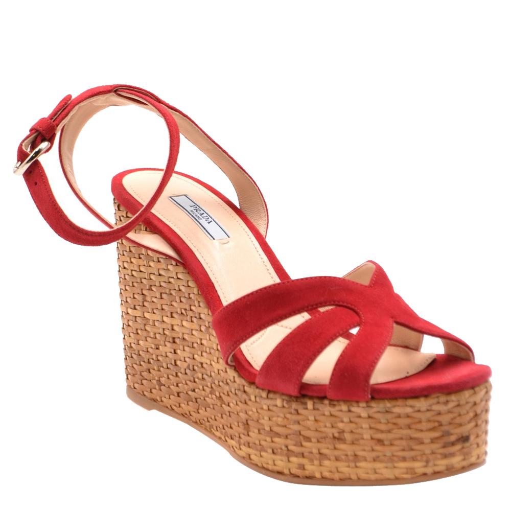 Prada Red Suede Wedge Platform Sandals Size EU 36, Multicolor  - buy with discount
