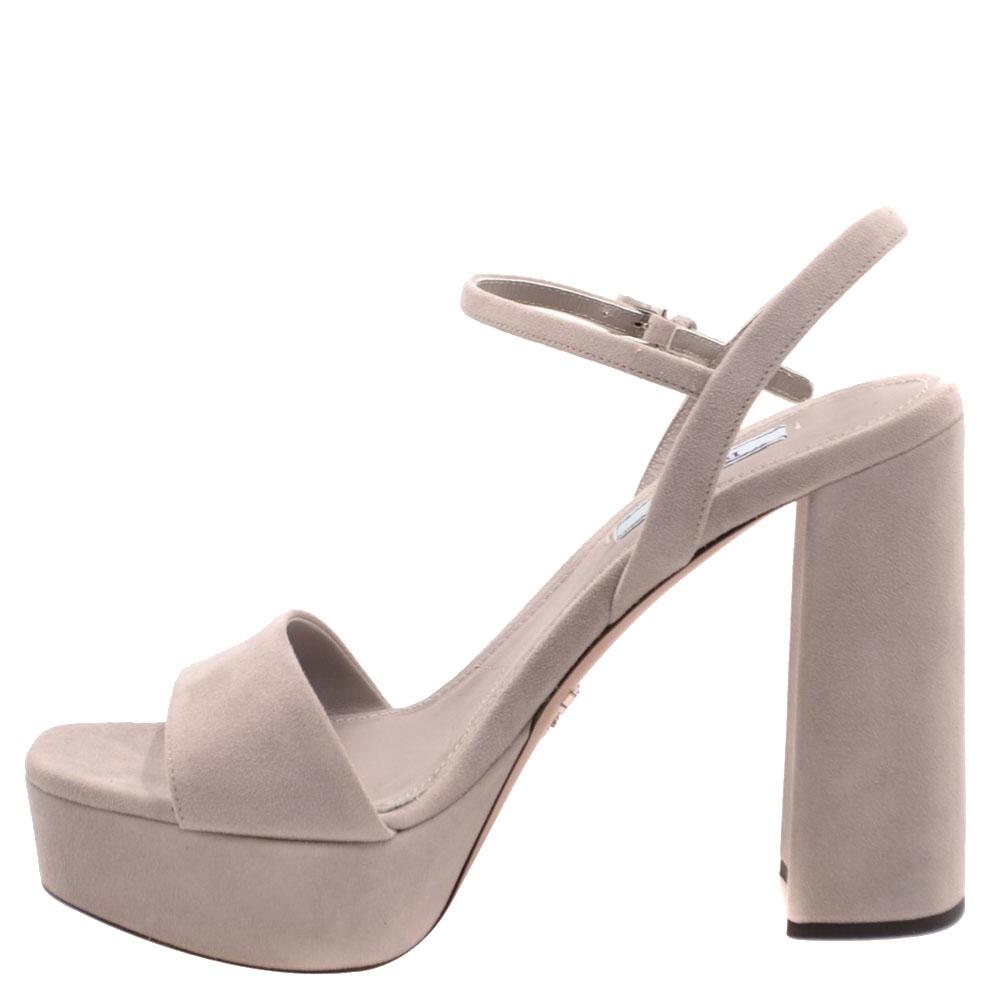Prada Pink Suede Ankle Strap Block Heel Platform Sandals Size EU 40