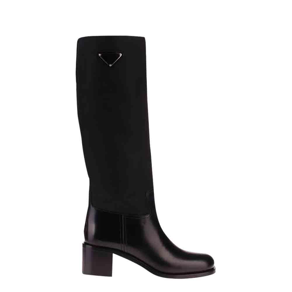Prada Black Leather Calf Length Boots Size EU 41
