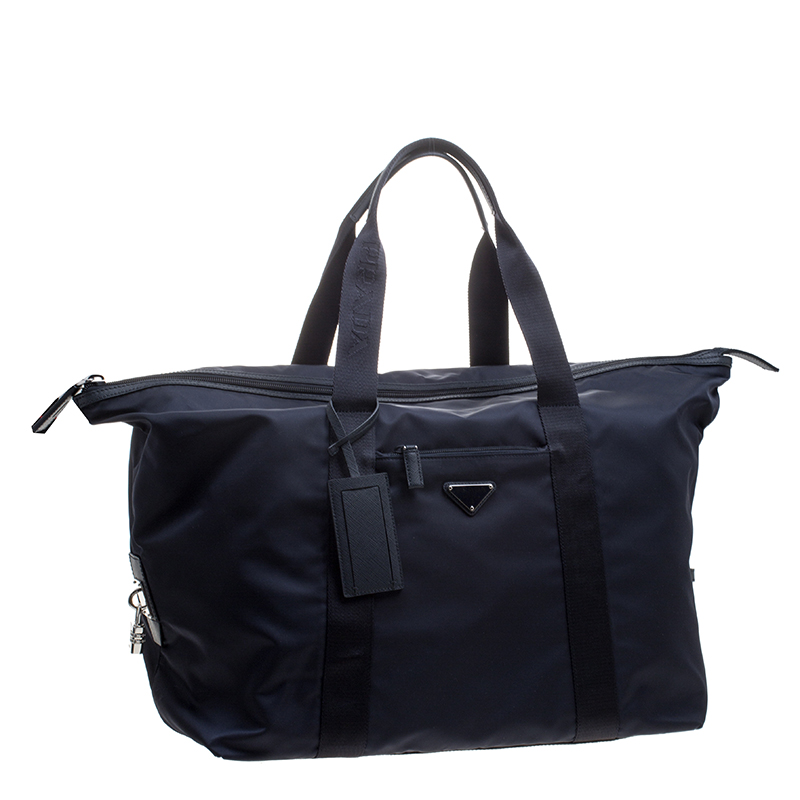 Prada Navy Blue Nylon Weekender Bag