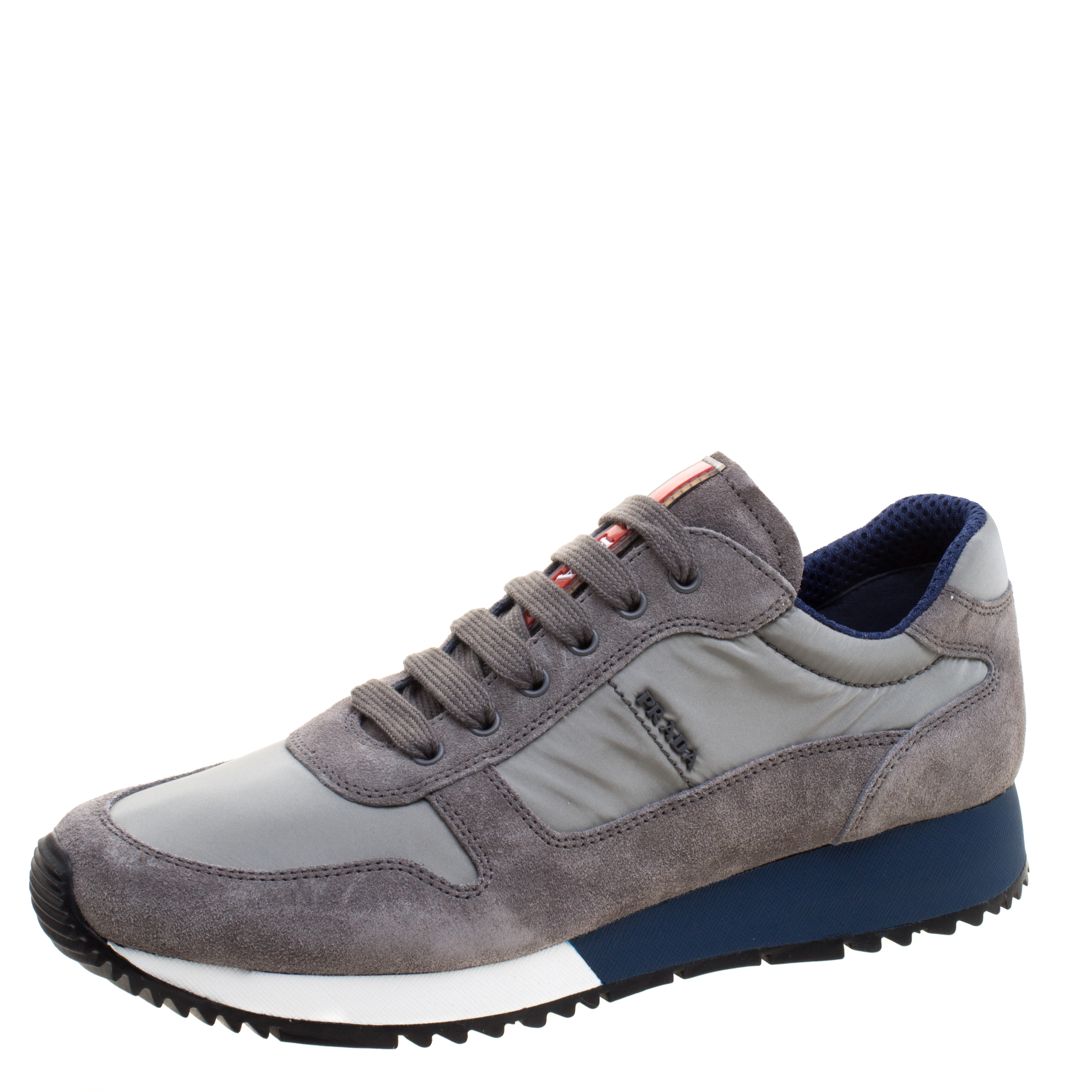 d84b85545105 Buy Prada Sport Grey Suede And Nylon Lace Up Sneakers Size 38 117970 ...