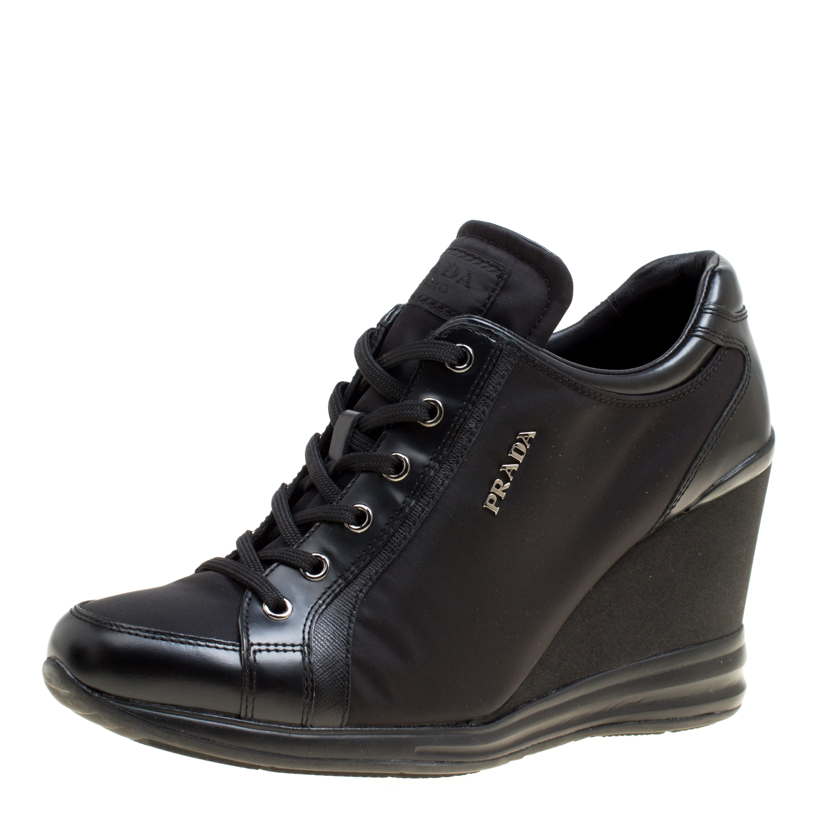 a9d8d9c1 Prada Sport Black Canvas and Leather Wedge Sneakers Size 39.5