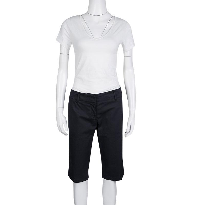 Купить со скидкой Prada Sport Navy Blue Cotton Twill Fitted Bermuda Shorts M