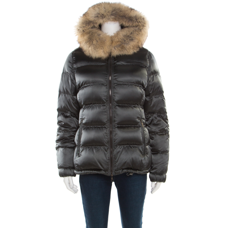 Prada Sport Grey Quilted Fox Fur Hooded Zip Front Down Jacket S