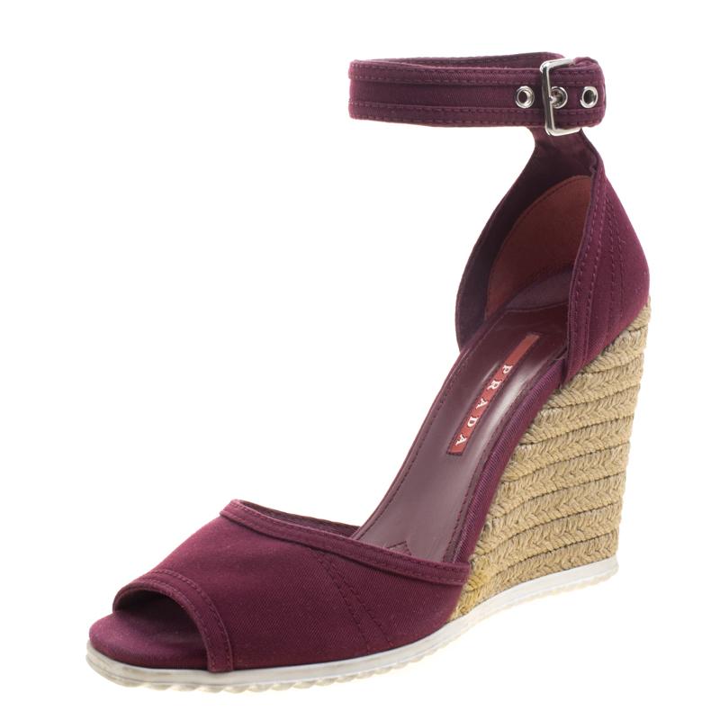 Buy Prada Sport Bordeaux Denim Ankle Strap Espadrille Wedge Sandals