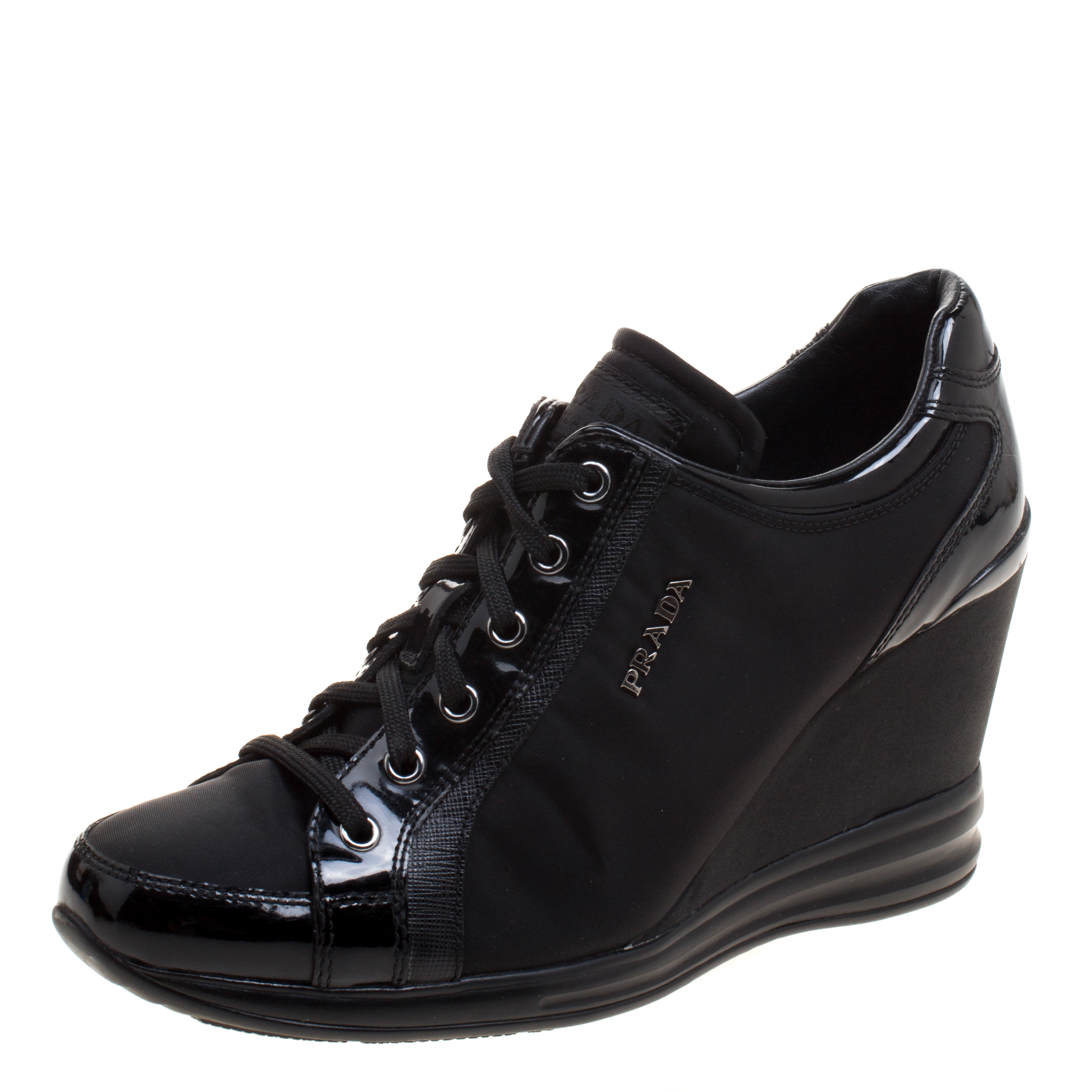 0b0f88d6 Prada Sport Black Nylon and Leather Wedge Lace Up Sneakers Size 38.5