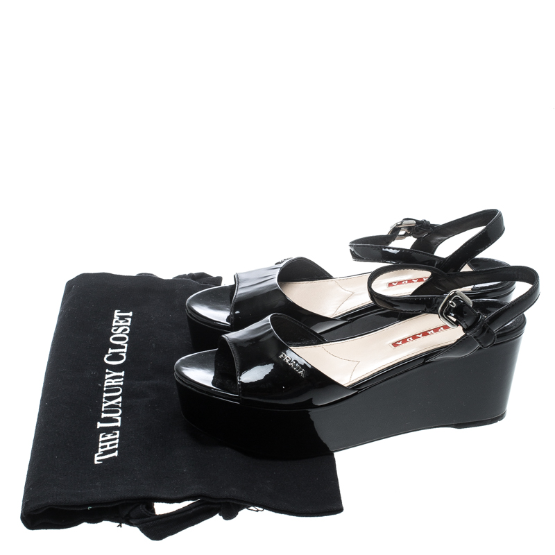 df9503d1 Prada Sport Black Patent Leather Ankle Strap Platform Sandals Size 36.5